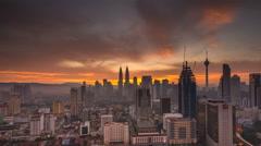 Sunrise time lapse at Kuala Lumpur City Center Stock Footage