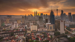 Sunrise time lapse at Kuala Lumpur City Center Stock Footage