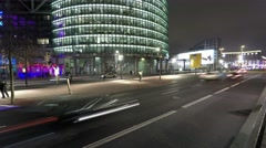 City traffic at night - time lapse, berlin Stock Footage