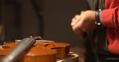 Violin maker Cine 4k [External audio] - portrait Stock Footage