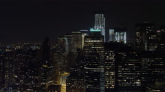Looking north at Manhattan Financial district, Freedom Tower in mid-frame; Stock Footage