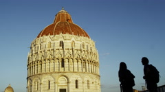 Pisa Italy Tourists At Baptistery of St. John 4K Stock Video Footage - stock footage