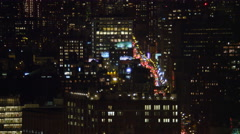 Jib up over Hudson River toward Midtown Manhattan at night. Shot in 2011. Stock Footage