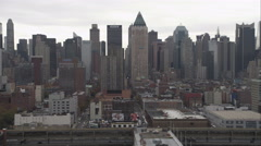 Flying past Midtown Manhattan, from West 59th Street along the Hudson River Stock Footage