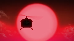 A Helicopter sunset heli flying 4 Stock Footage