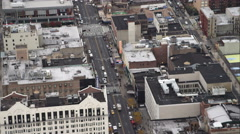 Flying above Martin Luther King Boulevard and the Apollo Theater in Harlem, New Stock Footage