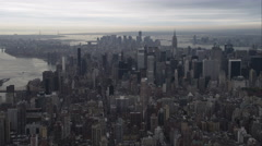 Departing New York, looking south and flying over Roosevelt Island and Stock Footage