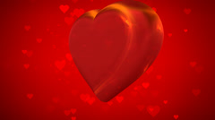 Loop able moving big and small red hearts animated Stock Footage