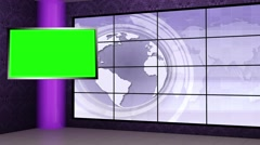 News TV Studio Set 109 - Virtual Green Screen Background Loop - stock footage