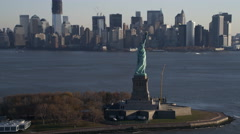 Orbiting the Statue of Liberty on a hazy day. Shot in 2011. Stock Footage