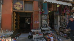 Stock Video Footage of Close view of souvenir shops in Mostar, Bosnia-Herzegovina