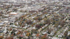 Over residential area, heading toward Long Island, New York. Shot in November Stock Footage