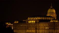 Castle of Buda at night light Stock Footage