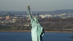 Zoom-out from upper portion of the Statue of Liberty. Shot in 2011. Stock Footage
