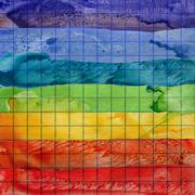 Rainbow watercolor background on math paper Stock Photos