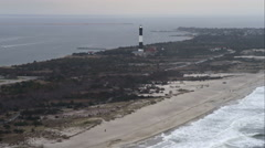 Past Fire Island Lighthouse on Great South Bay, Long Island New York. Shot in Stock Footage