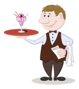 Waiter Deliver Ice Cream - stock illustration