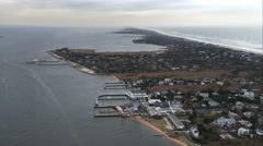 Over Fire Island communities of Kismet and Saltaire near Clam Pond cove on Great Stock Footage