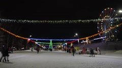 Town Square at Christmas. Time lapse Stock Footage