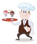 Chef Carries Ice Cream Stock Illustration