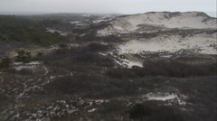 Flying above Fire Island Dunes east of Robinson Cove, New York. Shot in November - stock footage
