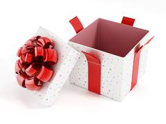 Open giftbox with red ribbons Stock Illustration