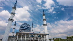 Daylight moving clouds time lapse at a Mosque. Stock Footage