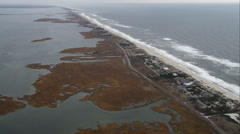 High orbit of beachfront residential area west of Shinnecock County Park, Long Stock Footage