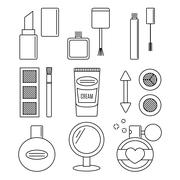 Make up and cosmetics vector set. - stock illustration