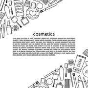 Banner make up and cosmetics vector set. - stock illustration