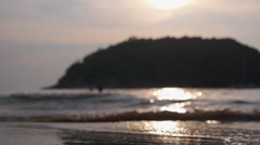 Sea Coast with Foam Waves at Sunset on Paradise Island Stock Footage
