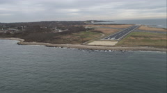 Approaching Elizabeth Field Airport, Fishers Island, New York. Shot in November Stock Footage