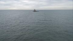 Orbiting Race Rock Lighthouse in Long Island Sound near Fishers Island, New Stock Footage