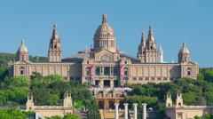 The National Art Museum of Catalonia in Barcelona timelapse Stock Footage