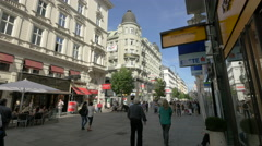 Walking on Kärntner Strasse, near Astoria Hotel, Vienna Stock Footage