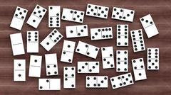 White domino tiles set, on wooden background - stock photo