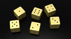 Six golden dices with one to six numbers, isolated on black background - stock photo