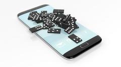 Black domino tiles randomly piled on smartphone screen, isolated on white Stock Photos
