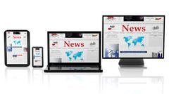 Tablet, smartphone, laptop and monitor with News website on screen,isolated o - stock illustration