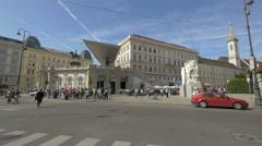 Albertinaplatz with Albertina art museum in Vienna Stock Footage