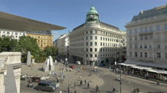 Riunione Adriatica di Sicurta building seen from Albertina art museum in Vienna Stock Footage