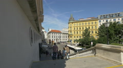 Augustinerstrasse seen from Albertina art museum's stairs in Vienna Stock Footage