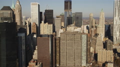 Close flight past the New York Financial District from the East River side. Shot Stock Footage