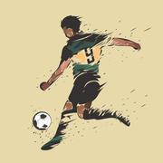 Soccer shooting ink splash Stock Illustration
