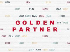 Stock Illustration of Business concept: Golden Partner on wall background