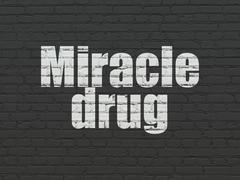 Health concept: Miracle Drug on wall background - stock illustration