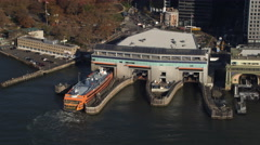 Past ferry terminals at the tip of Lower Manhattan. Shot in 2011. - stock footage