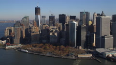 Past Battery Park, New York Financial District in background. Shot in 2011. - stock footage