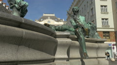 Man sculpture at Donnerbrunnen fountain in Vienna Stock Footage