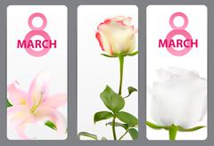 Poster 8 March Card Vector Illustration - stock illustration